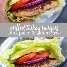 grilled turkey burgers paleo, keto, gluten-free collage