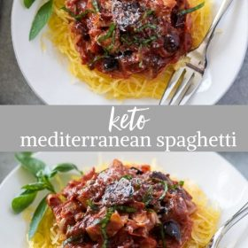 keto mediterranean spaghetti collage