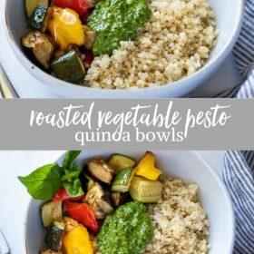 roasted vegetable pesto quinoa bowls