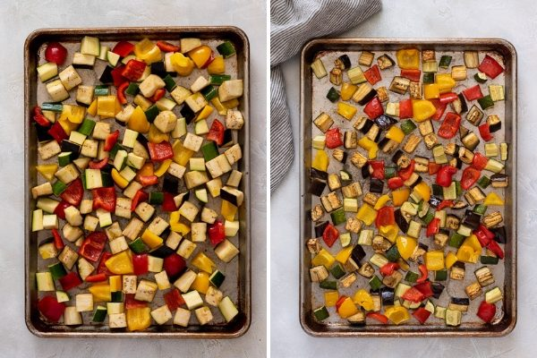 Roasted vegetables on baking sheet before and after cooking