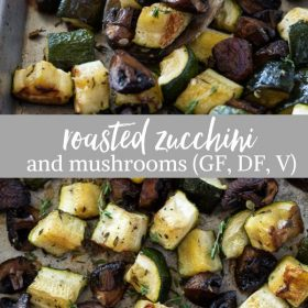 roasted zucchini and mushrooms collage