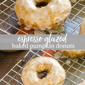espresso glazed baked pumpkin donuts collage