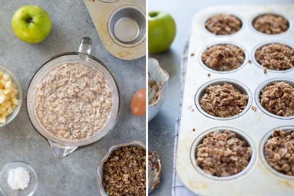 Apple baked oatmeal cups collage