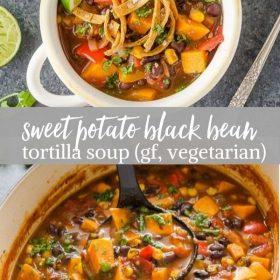 sweet potato black bean tortilla soup collage