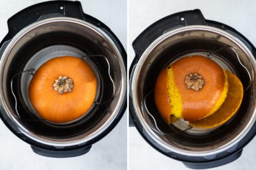 Whole pumpkin in an Instant Pot before and after cooking