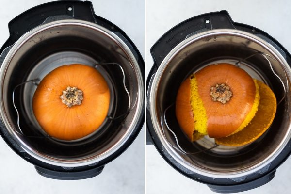 how to make pumpkin puree instant pot process collage 1