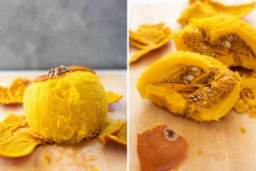 Collage of peeled whole pumpkin and one cut in half