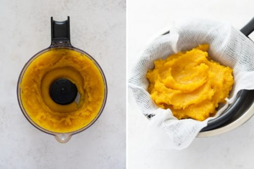 Collage of cooked pumpkin in food processor and puree draining in cheesecloth