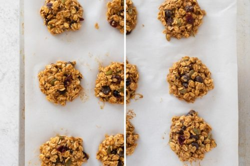 Collage of pumpkin breakfast cookies before and after baking