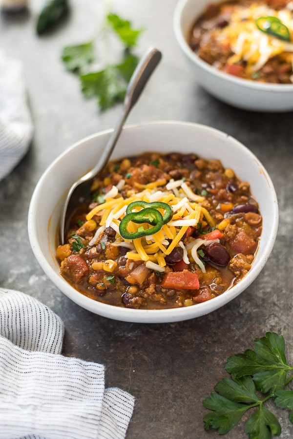 pumpkin chili with spoon