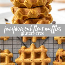 pumpkin oat flour waffles collage