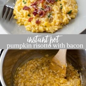 instant pot pumpkin risotto with bacon collage