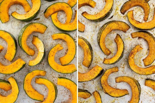 Kabocha squash before and after roasting