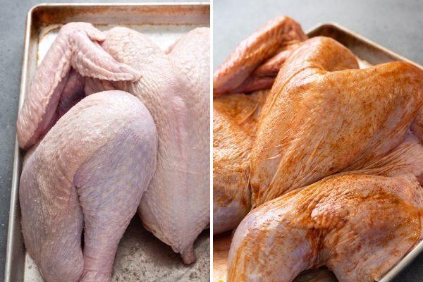 Spatchcock turkey process collage 2