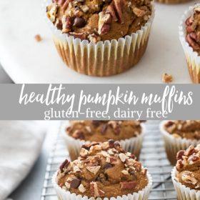 healthy pumpkin muffins collage