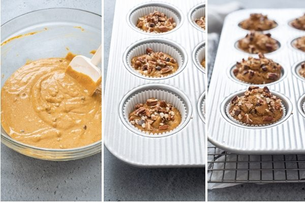 healthy pumpkin muffins process collage