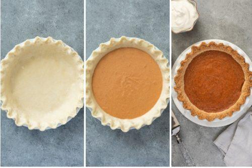 pumpkin pie from scratch process collage
