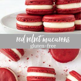 red velvet macarons collage