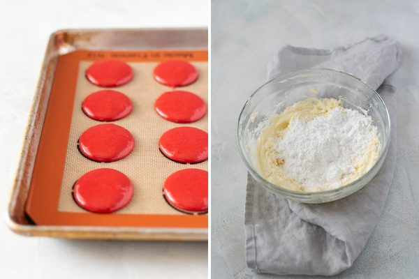 red velvet macarons process collage 4