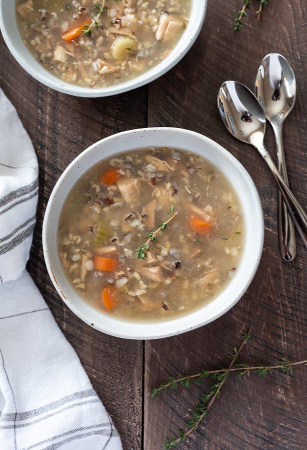 turkey wild rice soup overhead