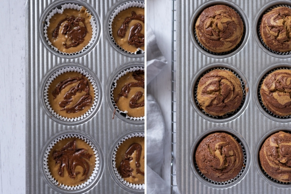 banana nutella swirl muffins before and after baking