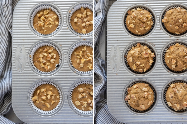 healthy banana muffins before and after baking