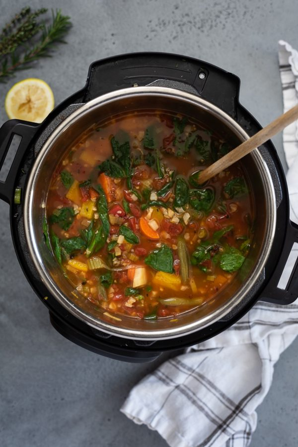 overhead shot of instant pot vegetable soup