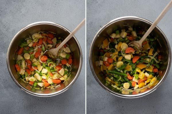 instant pot vegetable soup process collage 1