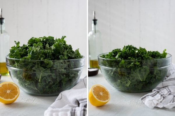 Kale before and after massaging -- front shot in bowl