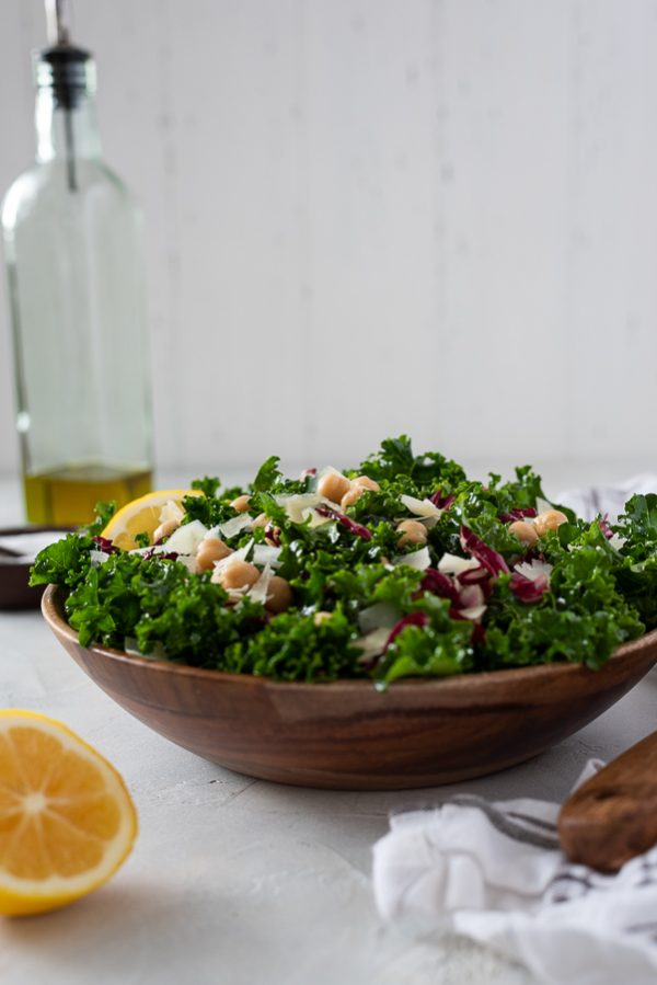 front shot of massaged kale salad in bowl