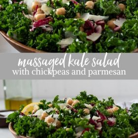 massaged kale salad with chickpeas and parmesan collage