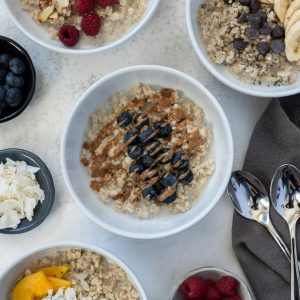 quinoa oatmeal overhead shot with all variations