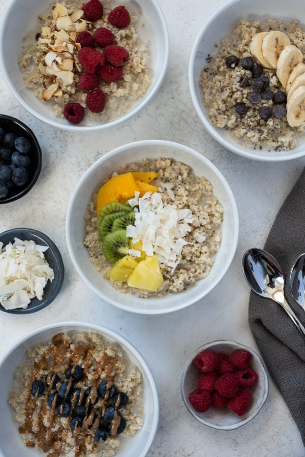 tropical quinoa oatmeal breakfast bowls