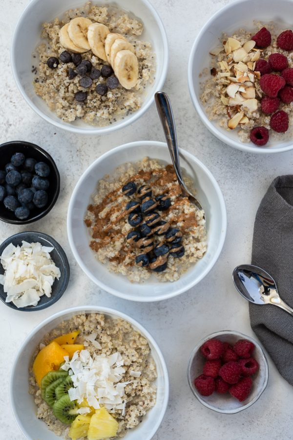 blueberry almond butter quinoa oatmeal breakfast bowls