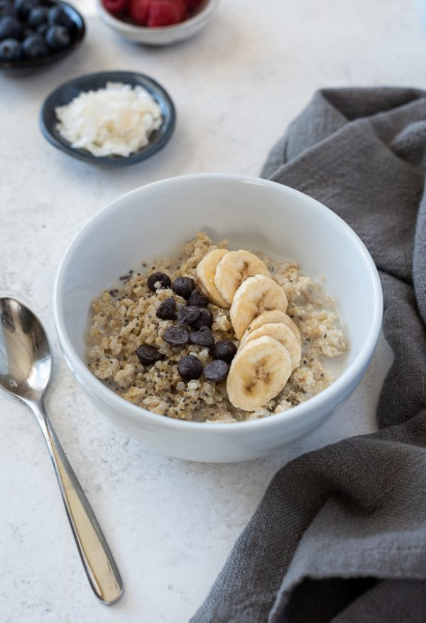 front shot of banana chocolate chip quinoa oatmeal breakfast bowls