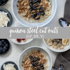 quinoa oatmeal breakfast bowls collage