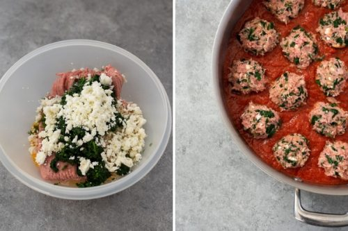 baked turkey meatballs process collage
