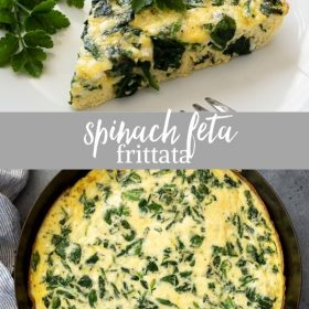 spinach feta frittata collage