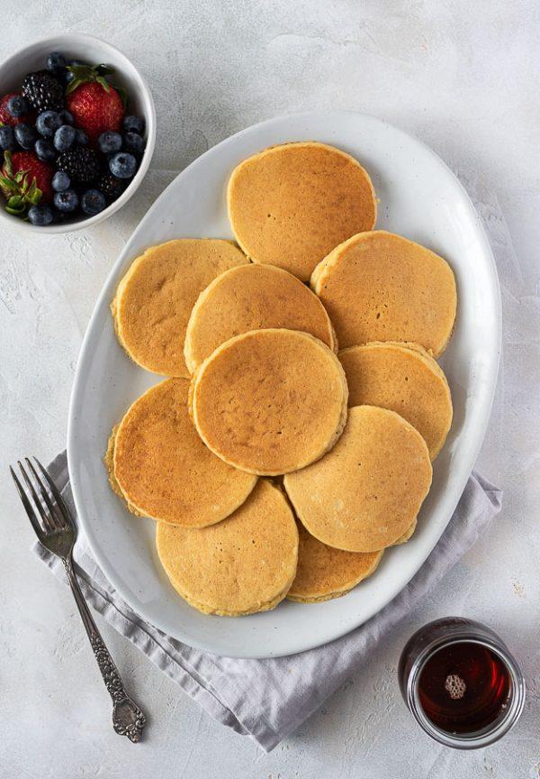 almond flour pancakes on a serving platter
