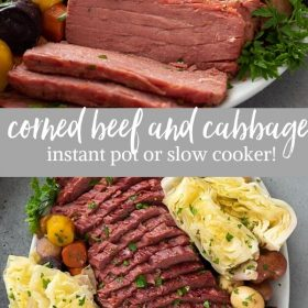 corned beef and cabbage (crock pot or instant pot) collage