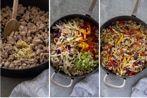 egg roll in a bowl recipe process collage
