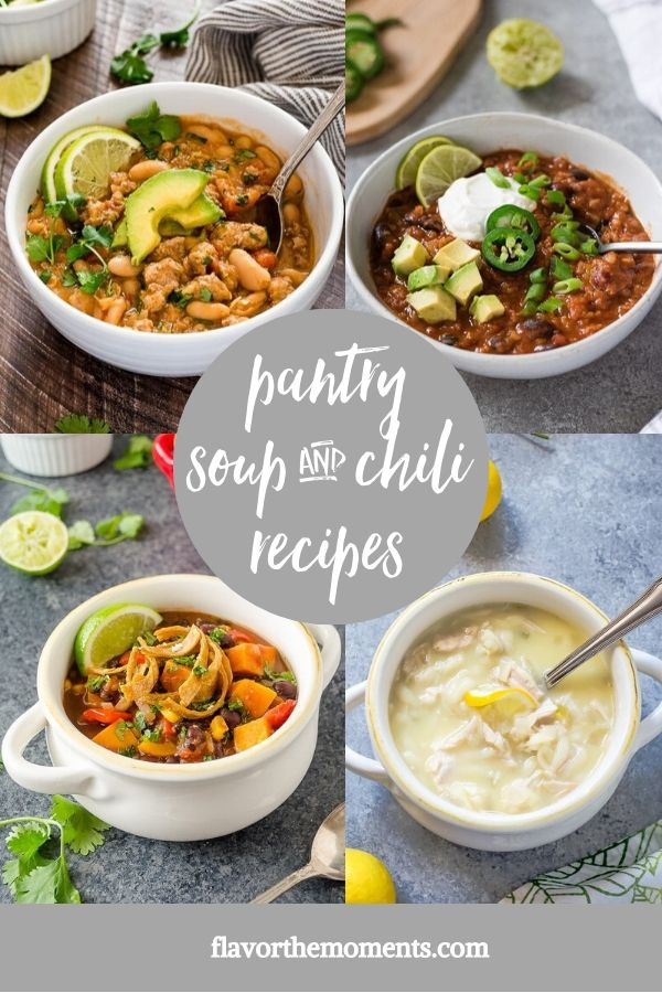 healthy pantry soup and chili recipes collage