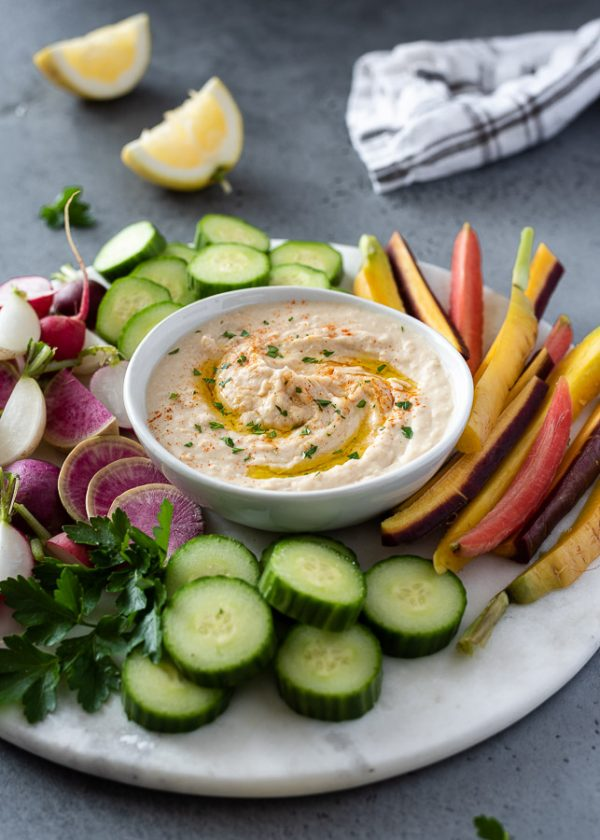 close up of cannellini bean hummus