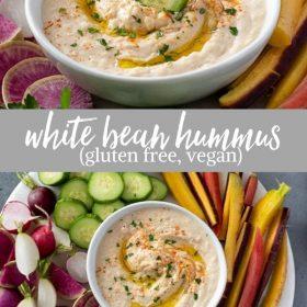 white bean hummus collage