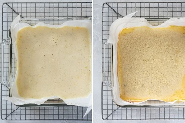 key lime bar crust before and after baking