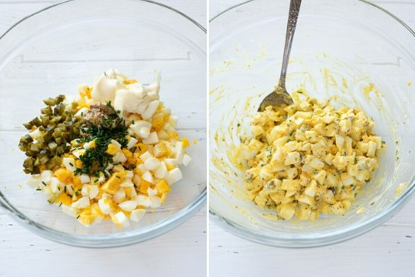 egg salad ingredients before and after mixing