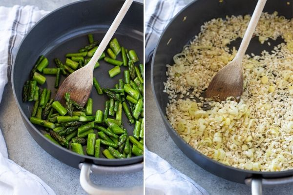 spring risotto process collage of sautéed asparagus and toasted arborio rice