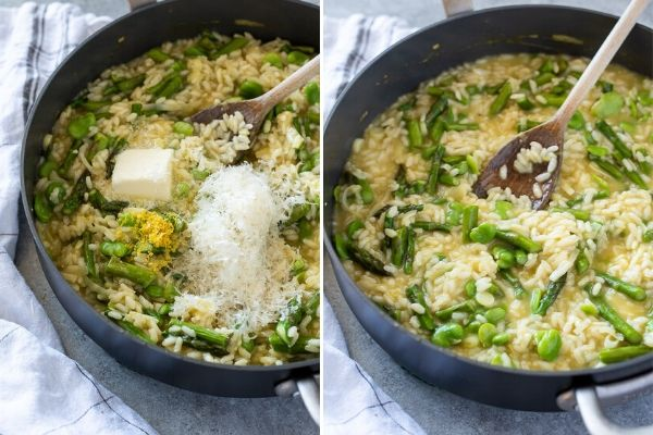 Spring risotto collage before and after stirring in butter, parmesan and lemon