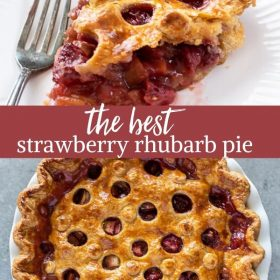 strawberry rhubarb pie collage