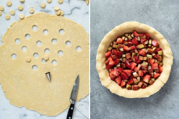 top crust of strawberry rhubarb pie with circle pattern and filled pie crust